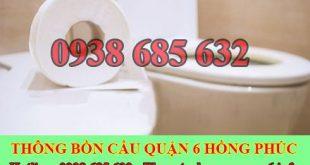 Thông bồn cầu bị nghẹt giấy Quận 6 giá rẻ 0903737957 BH 5năm